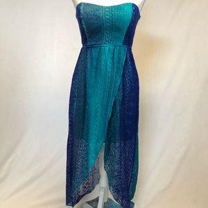 NWT strapless hi low dress medium blue bohemian